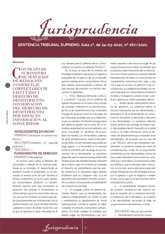 Coleccionable Jurisprudencia I Ley General para la Defensa de los Consu- midores y Usuarios, en adelante TRLGCU]. En el ca...