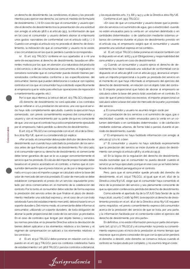 Coleccionable Jurisprudencia III un derecho de desistimiento, las condiciones, el plazo y los procedi- mientos para ejerce...