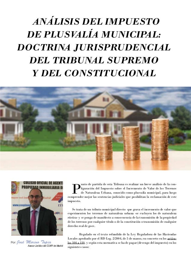 27 ACTIVIDAD ANÁLISIS DEL IMPUESTO DE PLUSV ALÍA MUNICIPAL: DOCTRINA JURISPRUDENCIAL DEL TRIBUNAL SUPREMO Y DEL CONSTITUCI...