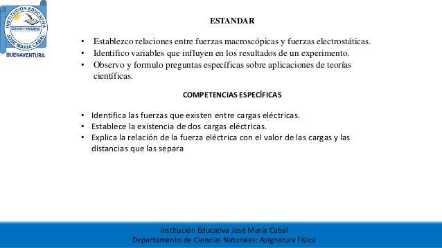 Institución Educativa José María Cabal Departamento de Ciencias Naturales: Asignatura Física ESTANDAR • Establezco relacio...
