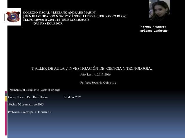 """COLEGIO FISCAL """"LUCIANO ANDRADE MARIN"""" JUAN DÍAZ HIDALGO N.58-197 Y ÁNGEL LUDEÑA (URB. SAN CARLOS) TELFS.: 2599317; 2292-1..."""