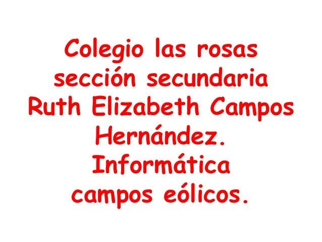Colegio las rosas sección secundaria Ruth Elizabeth Campos Hernández. Informática campos eólicos.
