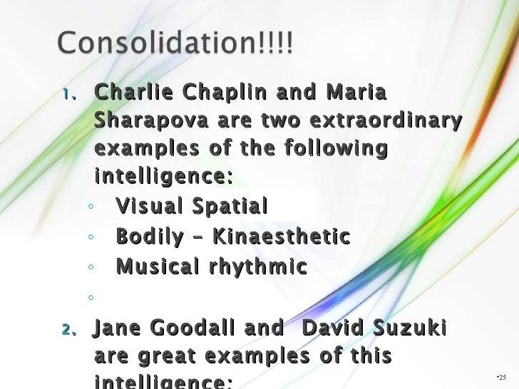 <ul><li>Charlie Chaplin and Maria Sharapova are two extraordinary examples of the following intelligence: </li></ul><ul><u...