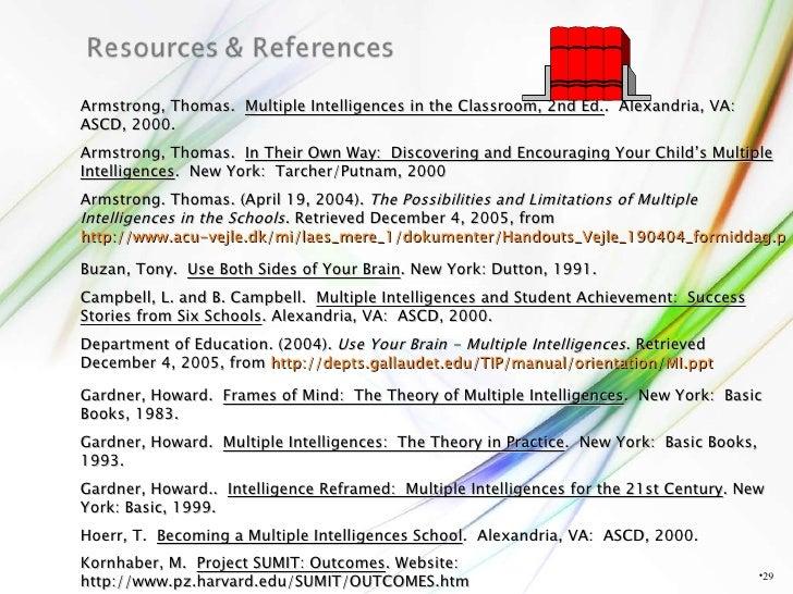 <ul><li></li></ul>Armstrong, Thomas.  Multiple Intelligences in the Classroom, 2nd Ed. .  Alexandria, VA:  ASCD, 2000. Arm...