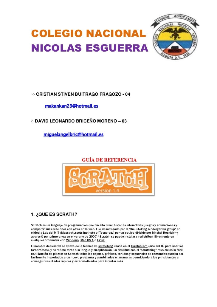 COLEGIO NACIONALNICOLAS ESGUERRA○ CRISTIAN STIVEN BUITRAGO FRAGOZO - 04          makankan29@hotmail.es○ DAVID LEONARDO BRI...