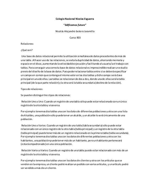 """Colegio Nacional Nicolas Esguerra """"Edificamos futuro"""" Nicolás Alejandro botero Jaramillo Curso 903 Relaciones: ¿Qué son? U..."""
