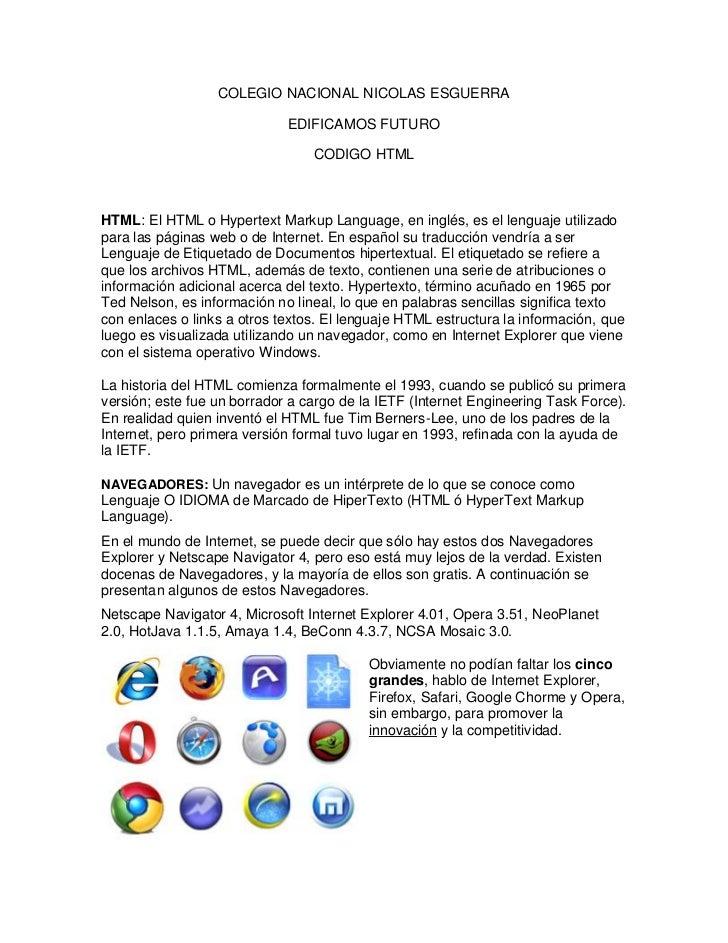 COLEGIO NACIONAL NICOLAS ESGUERRA                             EDIFICAMOS FUTURO                                 CODIGO HTM...