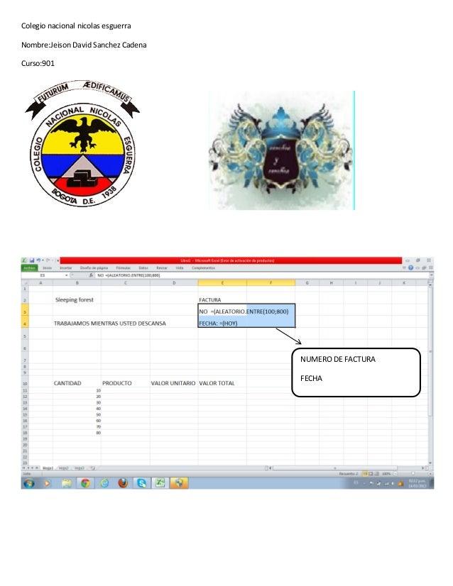 Colegio nacional nicolas esguerraNombre:Jeison David Sanchez CadenaCurso:901                                     NUMERO DE...
