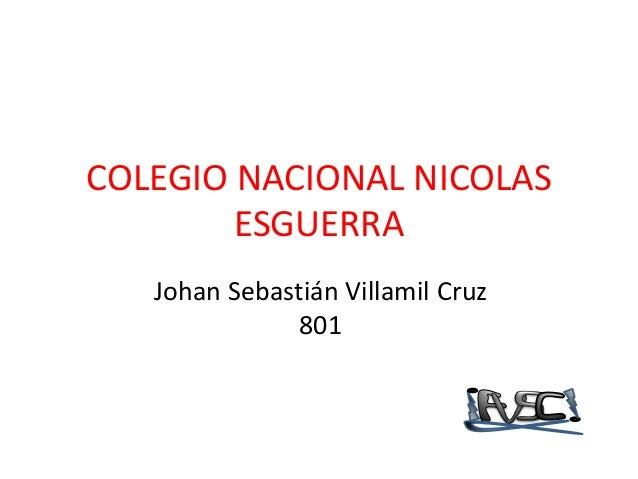 COLEGIO NACIONAL NICOLAS        ESGUERRA   Johan Sebastián Villamil Cruz               801