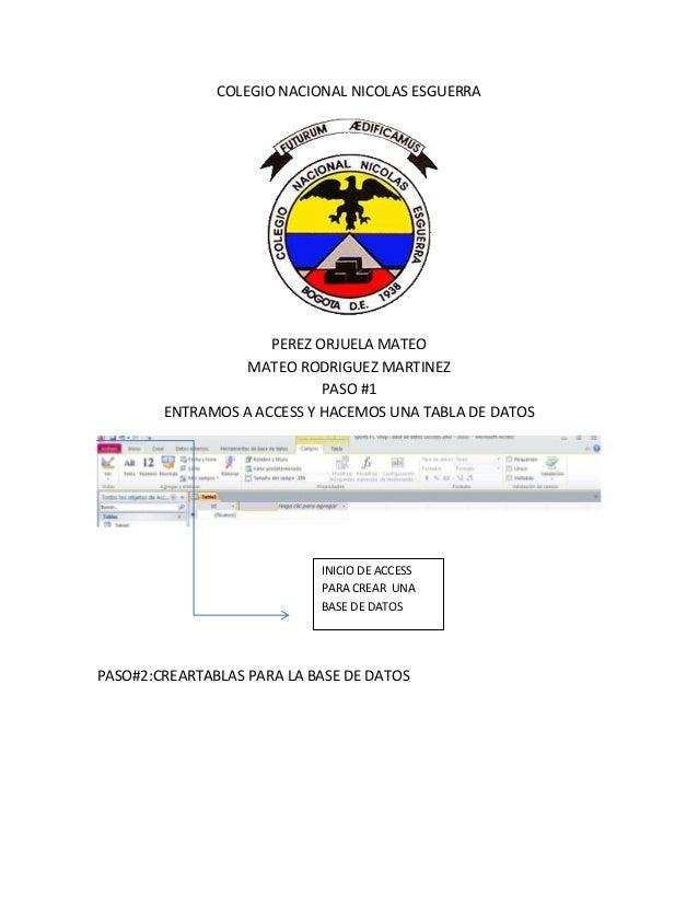 COLEGIO NACIONAL NICOLAS ESGUERRA PEREZ ORJUELA MATEO MATEO RODRIGUEZ MARTINEZ PASO #1 ENTRAMOS A ACCESS Y HACEMOS UNA TAB...