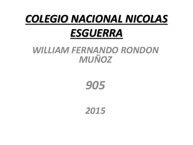 COLEGIO NACIONAL NICOLAS ESGUERRA WILLIAM FERNANDO RONDON MUÑOZ 905 2015