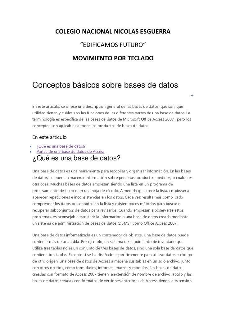 """COLEGIO NACIONAL NICOLAS ESGUERRA                           """"EDIFICAMOS FUTURO""""                       MOVIMIENTO POR TECLA..."""
