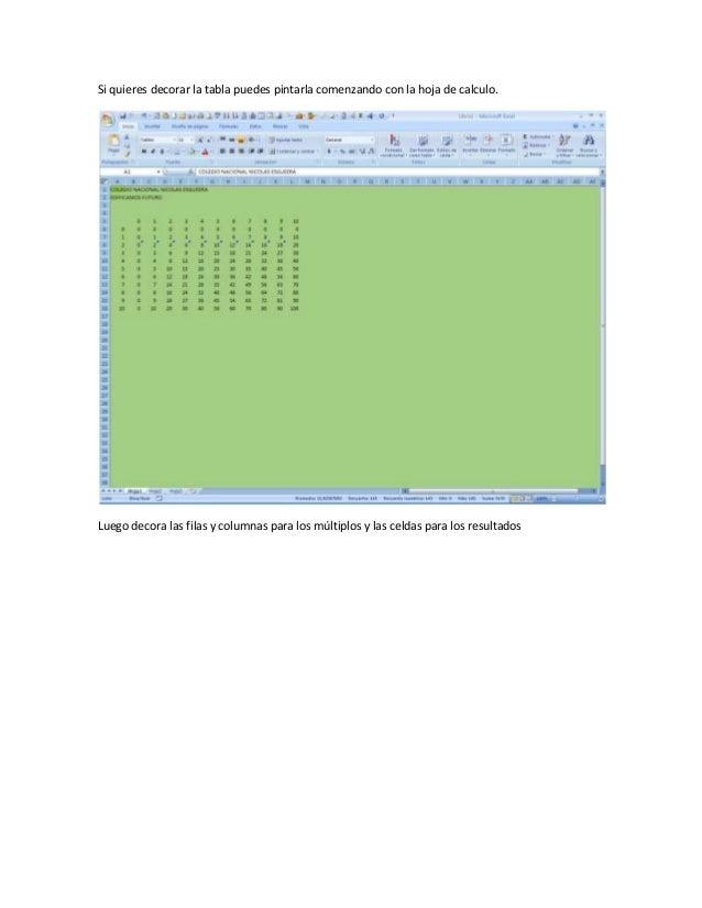 Si quieres decorar la tabla puedes pintarla comenzando con la hoja de calculo.Luego decora las filas y columnas para los m...