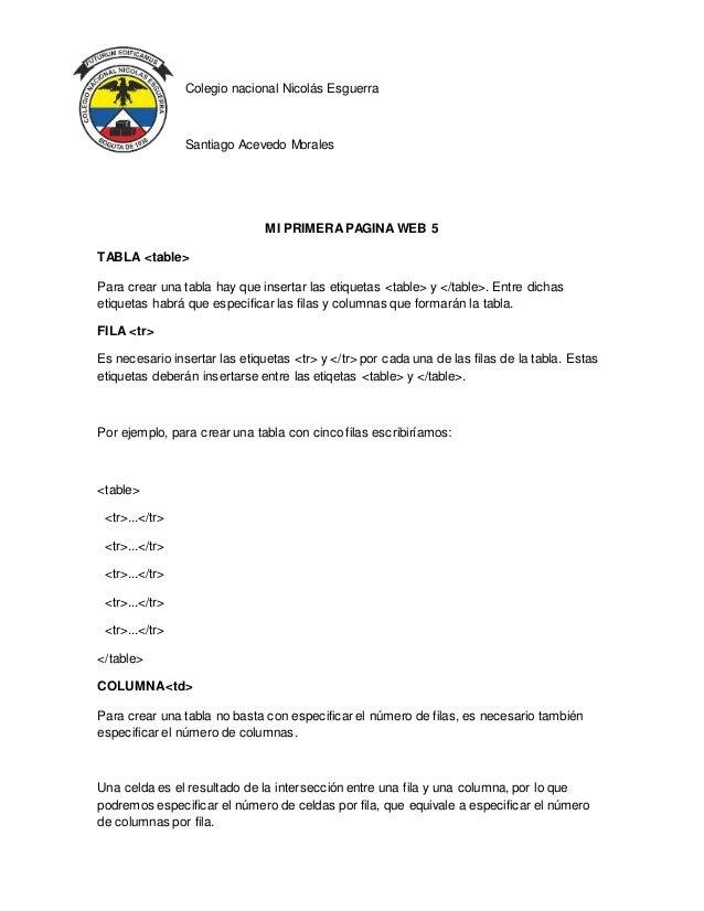 Colegio nacional Nicolás Esguerra Santiago Acevedo Morales MI PRIMERAPAGINA WEB 5 TABLA <table> Para crear una tabla hay q...
