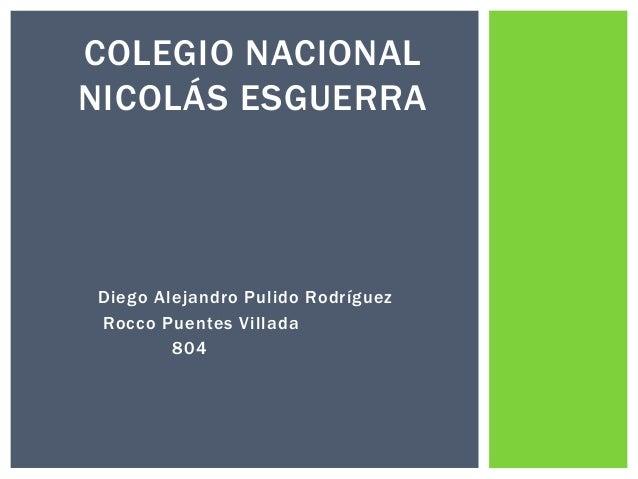 Diego Alejandro Pulido Rodríguez Rocco Puentes Villada 804 COLEGIO NACIONAL NICOLÁS ESGUERRA