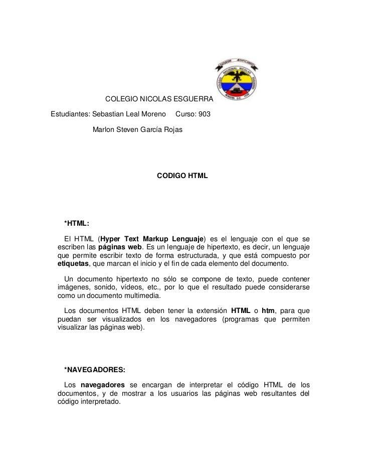 COLEGIO NICOLAS ESGUERRAEstudiantes: Sebastian Leal Moreno   Curso: 903            Marlon Steven García Rojas             ...