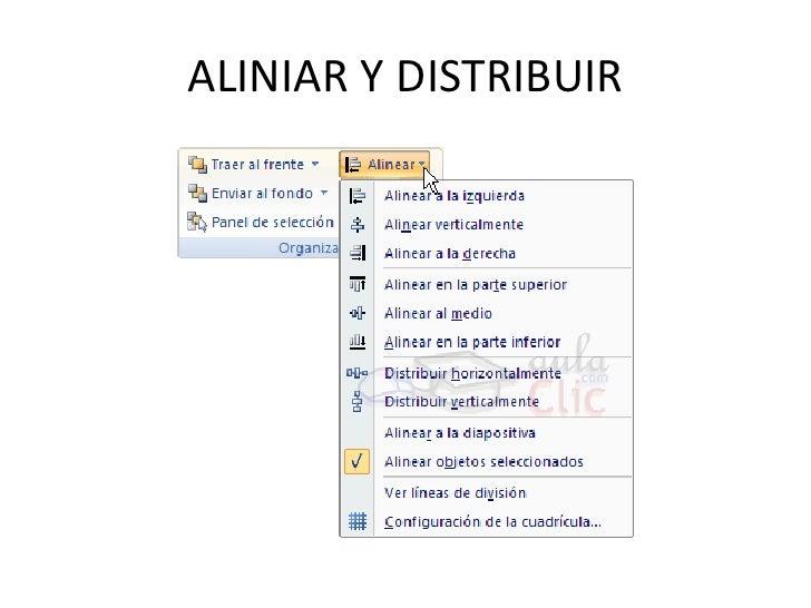 ALINIAR Y DISTRIBUIR