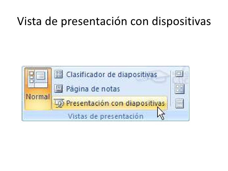 Vista de presentación con dispositivas
