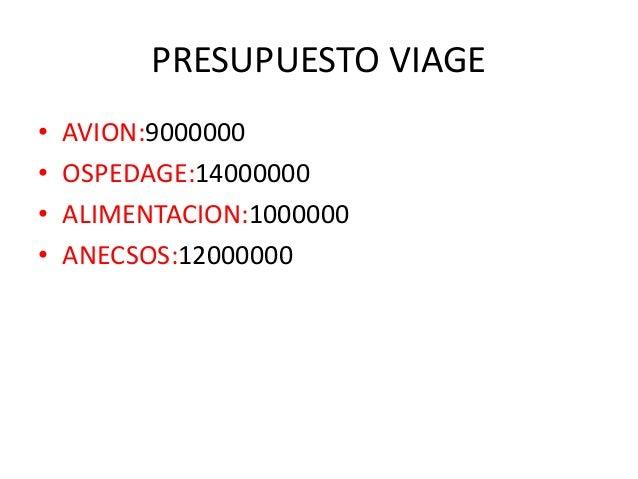 PRESUPUESTO VIAGE • AVION:9000000 • OSPEDAGE:14000000 • ALIMENTACION:1000000 • ANECSOS:12000000