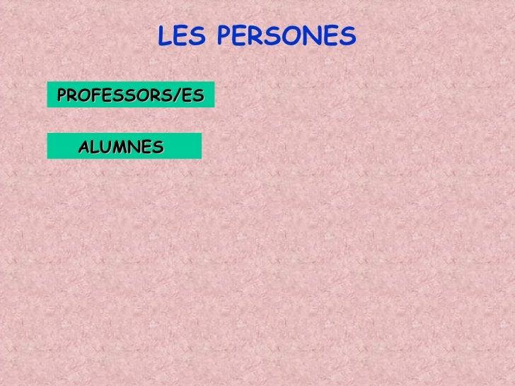 LES PERSONES PROFESSORS/ES ALUMNES