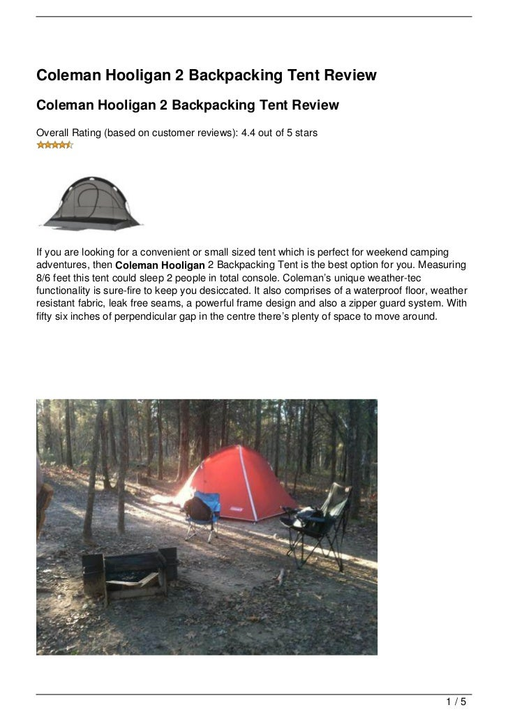 Coleman Hooligan 2 Backpacking Tent ReviewColeman Hooligan 2 Backpacking Tent ReviewOverall Rating (based on customer ...  sc 1 st  SlideShare & coleman-hooligan-2-backpacking-tent-review-1-728.jpg?cbu003d1349854302