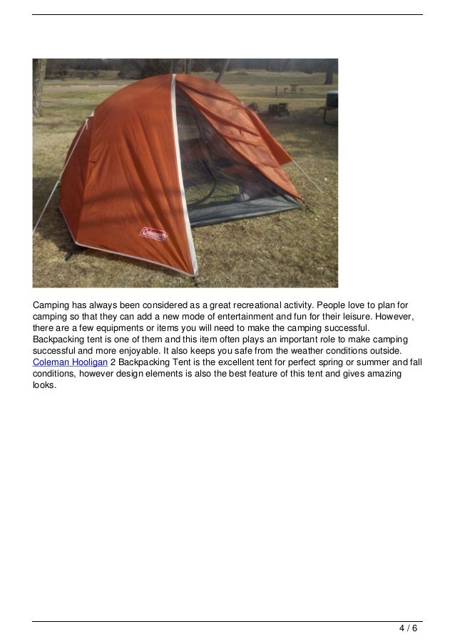 Read more 3/6; 4.  sc 1 st  SlideShare & Coleman Hooligan 2 Backpacking Tent Review
