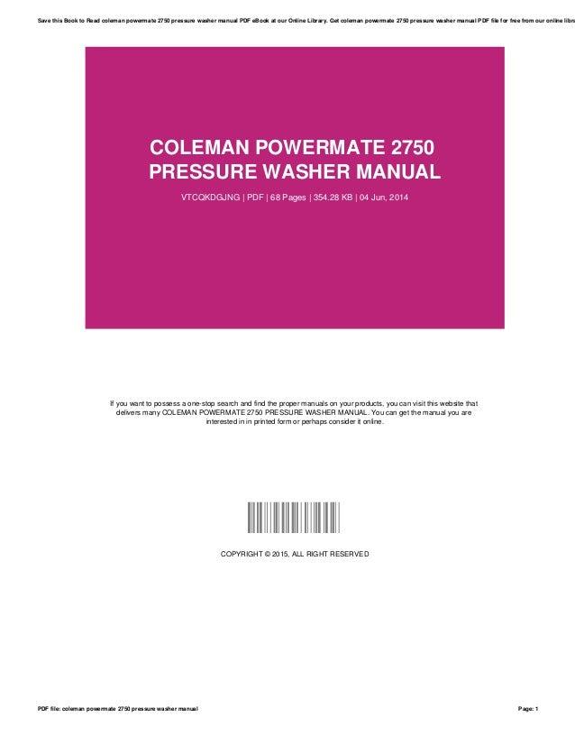 coleman powermate 2750 pressure washer manual rh slideshare net Coleman Powermate Instruction Manual Coleman Powermate Pressure Washer Pw0912201