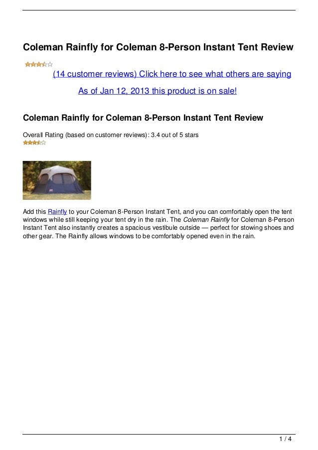 Coleman Rainfly for Coleman 8-Person Instant Tent Review          (14 customer reviews) Click here to see what others are ...