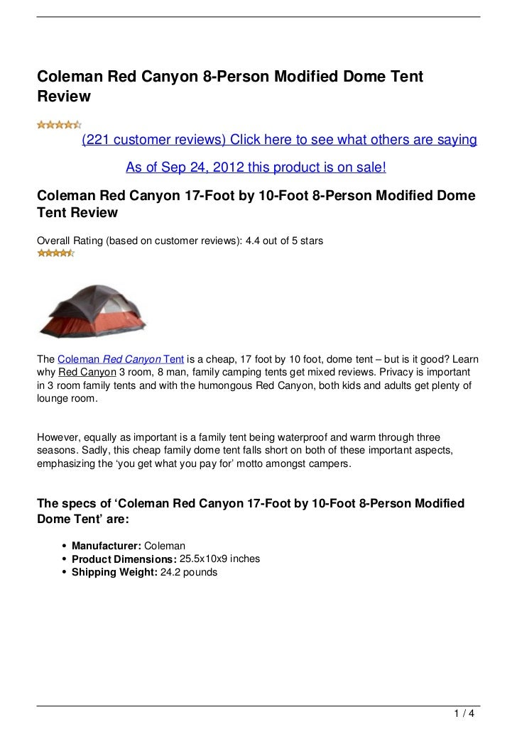 Coleman Red Canyon 8-Person Modified Dome TentReview         (221 customer reviews) Click here to see what others are sayi...