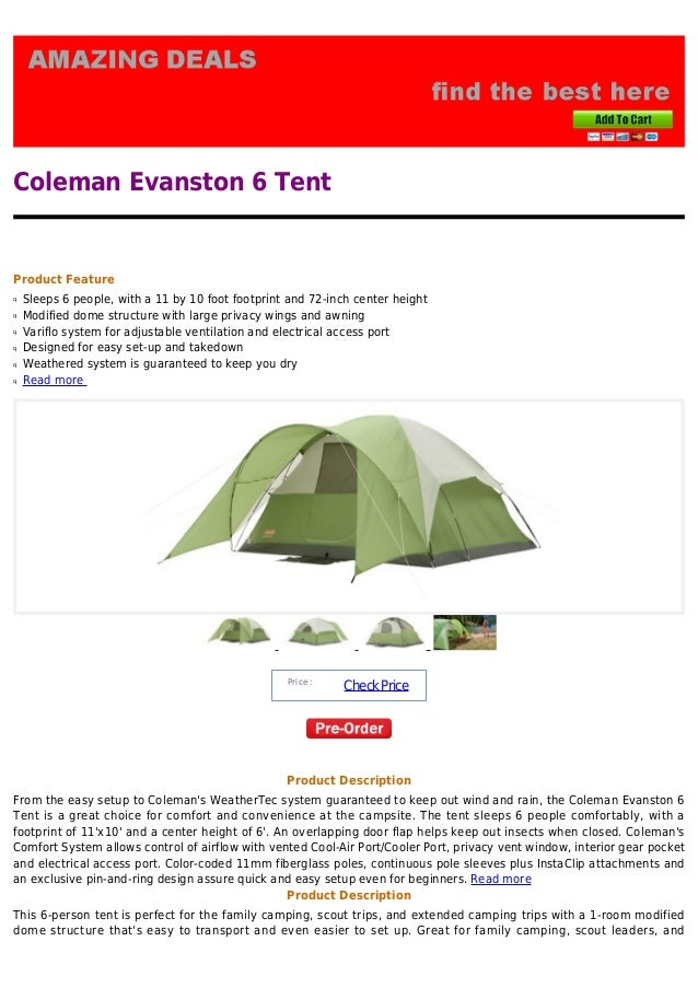 Coleman Evanston 6 TentProduct Featureq Sleeps 6 people with a 11 by 10 foot footprint ...  sc 1 st  SlideShare & Coleman evanston 6 tent