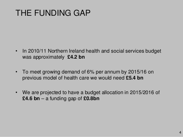 THE FUNDING GAP• In 2010/11 Northern Ireland health and social services budgetwas approximately £4.2 bn• To meet growing d...