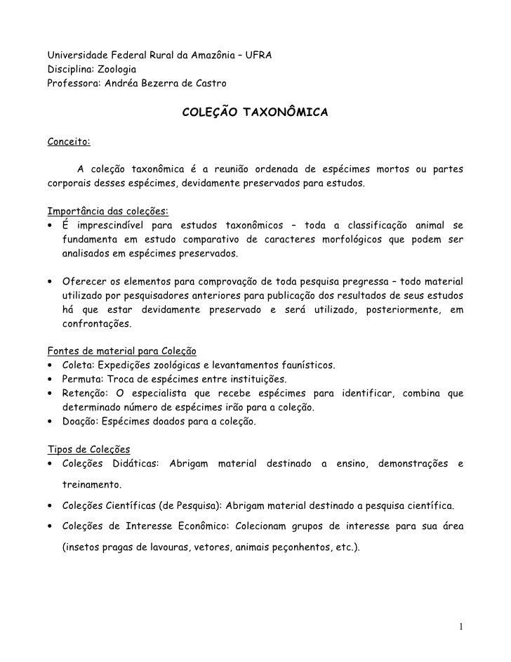Universidade Federal Rural da Amazônia – UFRADisciplina: ZoologiaProfessora: Andréa Bezerra de Castro                     ...