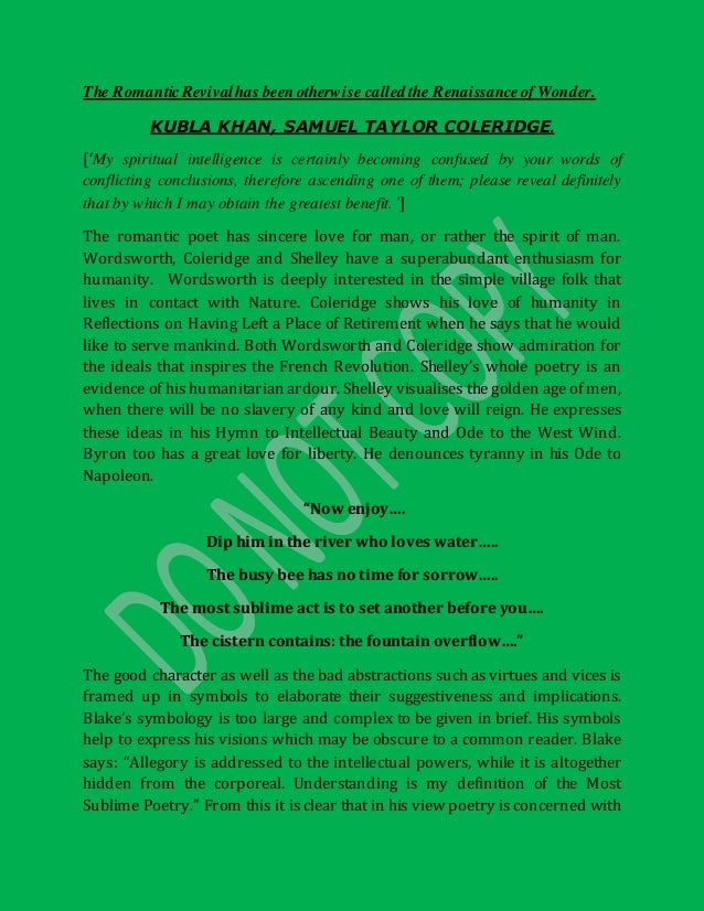 kubla khan opinion essay Read analysis of kubla khan free essay and over 88,000 other research documents analysis of kubla khan analysis of kubla khan the poem kubla khan by samuel.