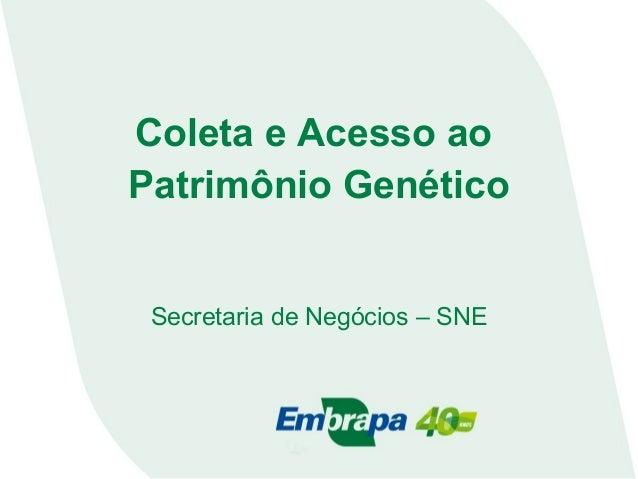 Coleta e Acesso ao Patrimônio Genético Secretaria de Negócios – SNE