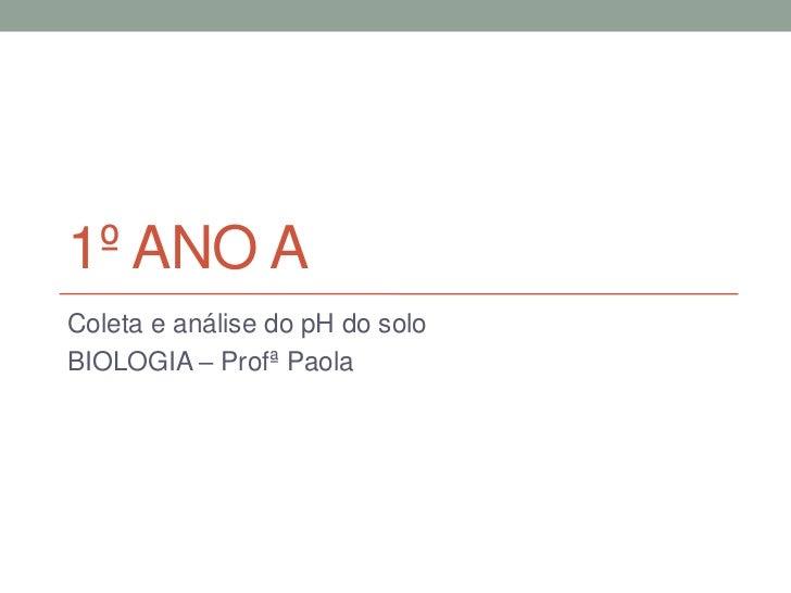 1º ANO AColeta e análise do pH do soloBIOLOGIA – Profª Paola