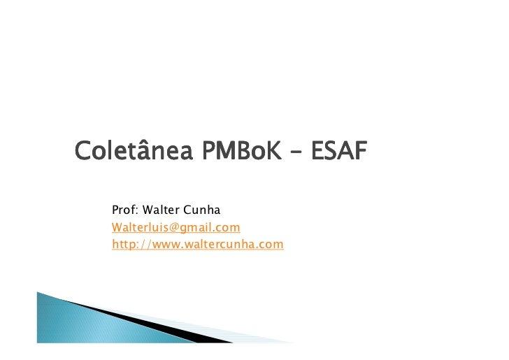 Coletâ Coletânea PMBoK – ESAF    Prof: Walter Cunha   Walterluis@gmail.com   http://www.waltercunha.com