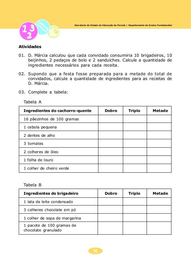 37 Secretaria de Estado da Educação do Paraná / Departamento de Ensino Fundamental 04. O bolo rende 20 pedaços. Calcule qu...