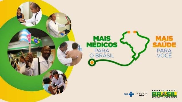 Cenário atual do Mais Médicos 14.462 médicos para a Atenção Básica Cerca de 50 milhões* de pessoas beneficiadas Mudar mapa...