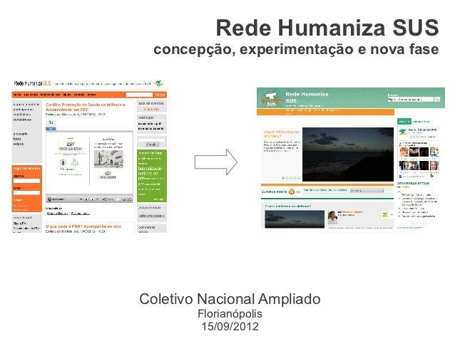 Rede Humaniza SUS  concepção, experimentação e nova faseColetivo Nacional Ampliado        Florianópolis         15/09/2012