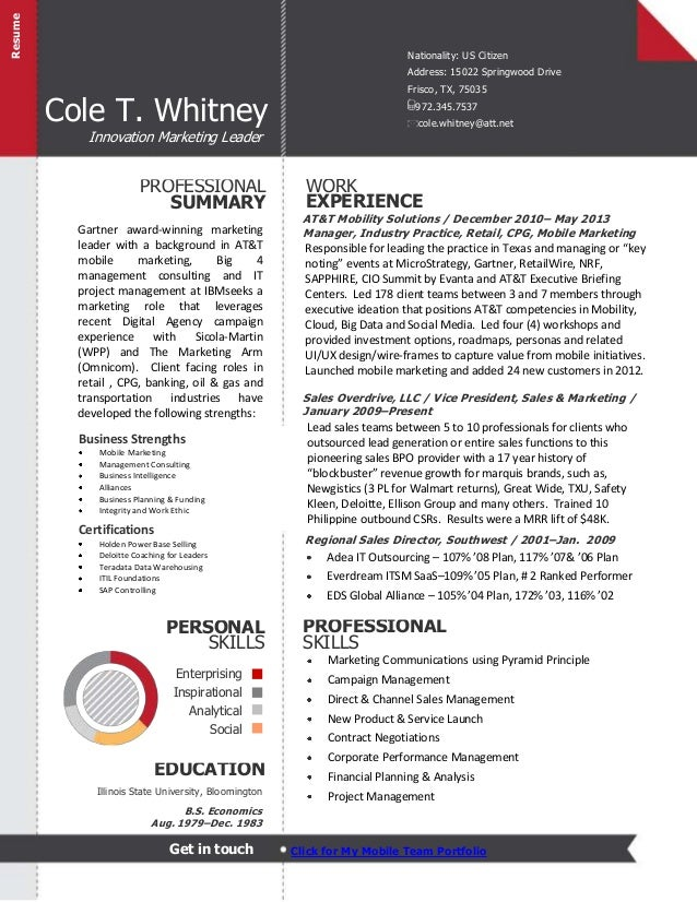 cole whitney one pager