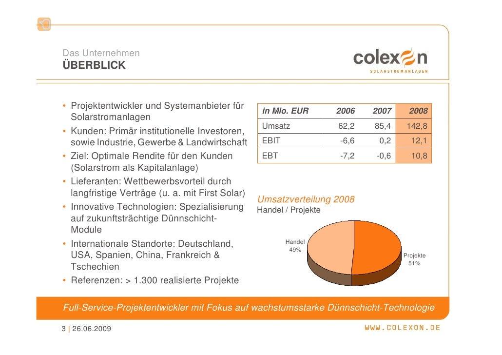 Übernahme renewagy (01.06.2008) - COLEXON Energy AG Slide 3