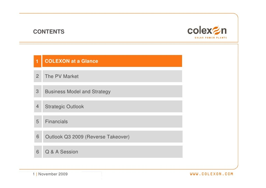 Company Presentation (Nov. 2009) - COLEXON Energy AG Slide 2