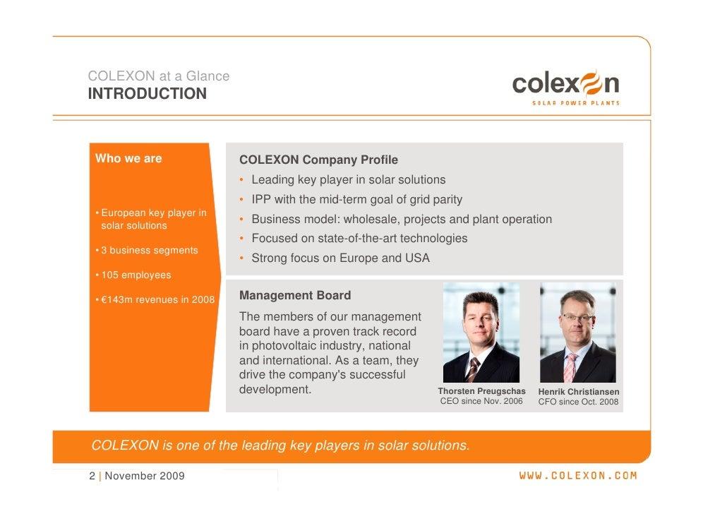 Company Presentation (Nov. 2009) - COLEXON Energy AG Slide 3
