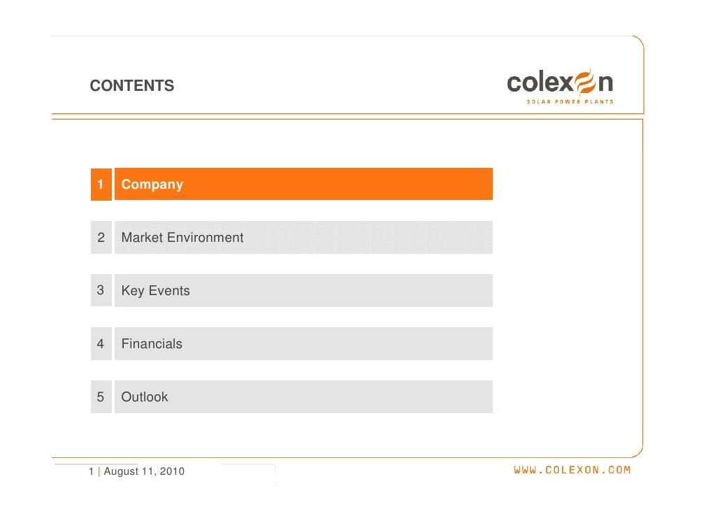 Investor presentation H1/2010 - COLEXON Energy AG Slide 2