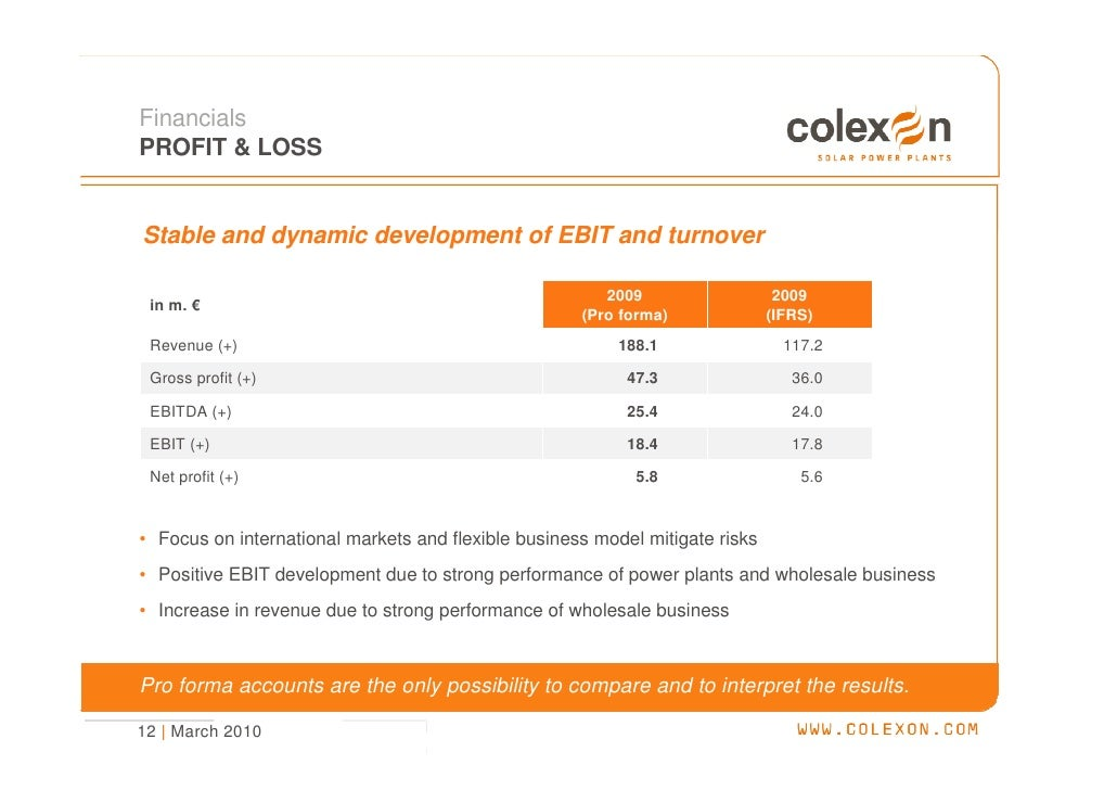 Financials PROFIT & LOSS   Stable and dynamic development of EBIT and turnover                                            ...