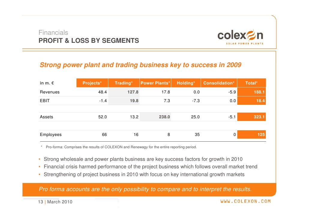 Financials PROFIT & LOSS BY SEGMENTS   Strong power plant and trading business key to success in 2009  in m. €            ...