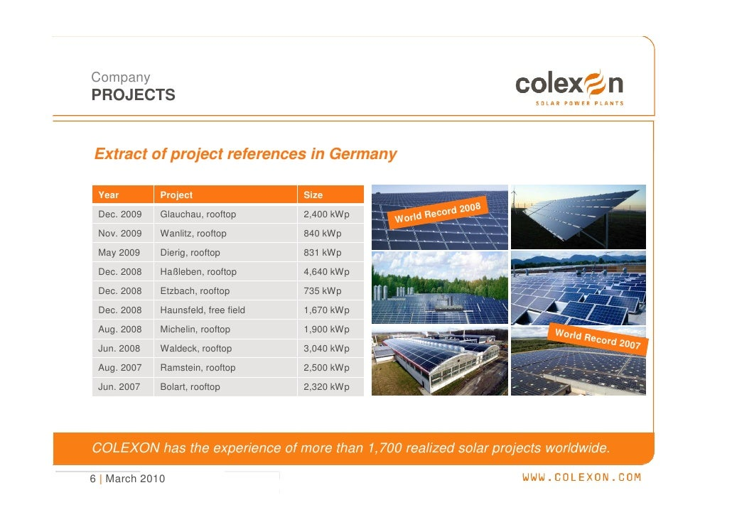 Company PROJECTS   Extract of project references in Germany   Year        Project                 Size                    ...