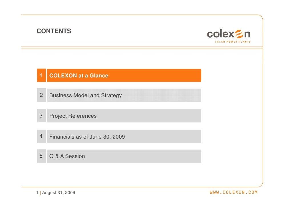 Company Presentation (Aug. 2009) - COLEXON Energy AG Slide 2