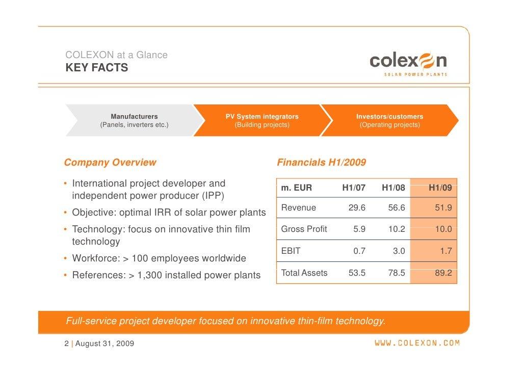 Company Presentation (Aug. 2009) - COLEXON Energy AG Slide 3
