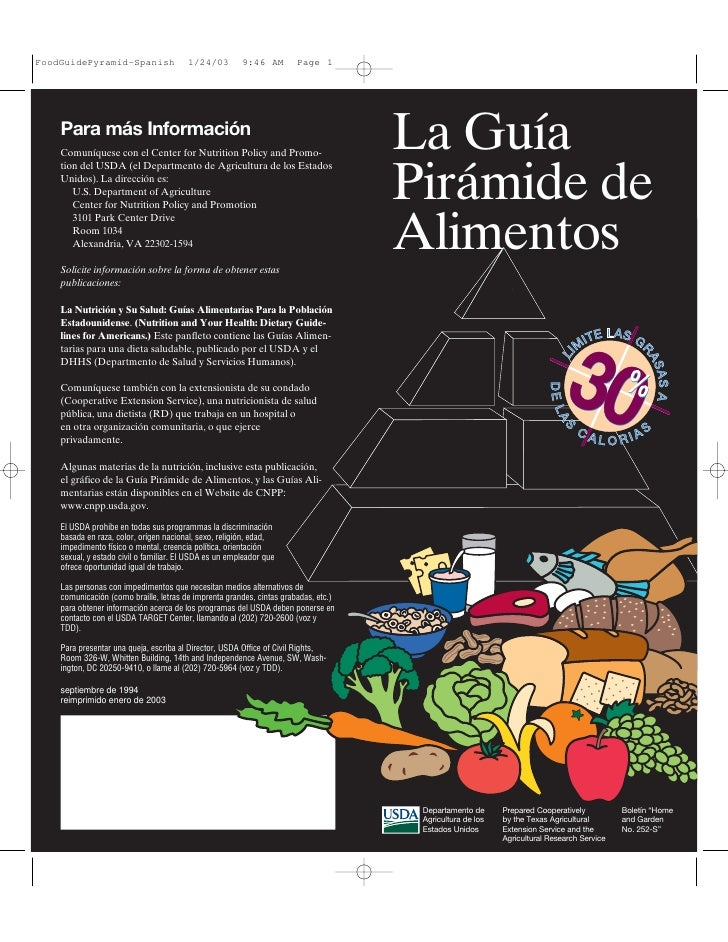 FoodGuidePyramid-Spanish                1/24/03         9:46 AM        Page 1    Para más Información    Comuníquese con e...